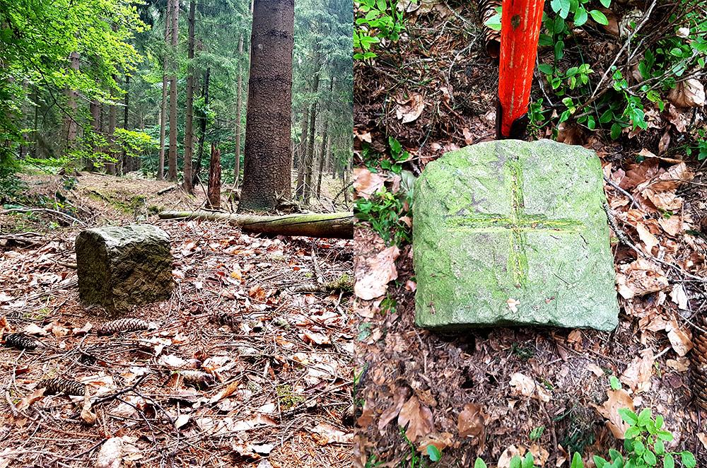 Grenzstein im Wald
